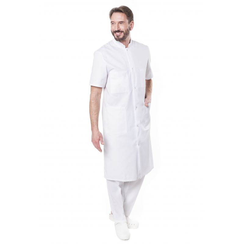 Blouse médicale homme manches courtes blanche bukky