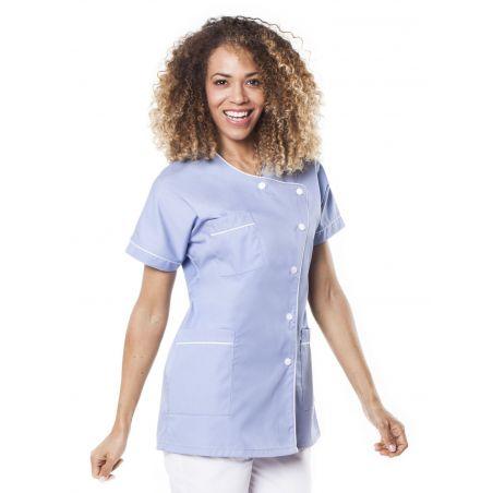 Tunique médicale femme taffa ciel/liseré blanc