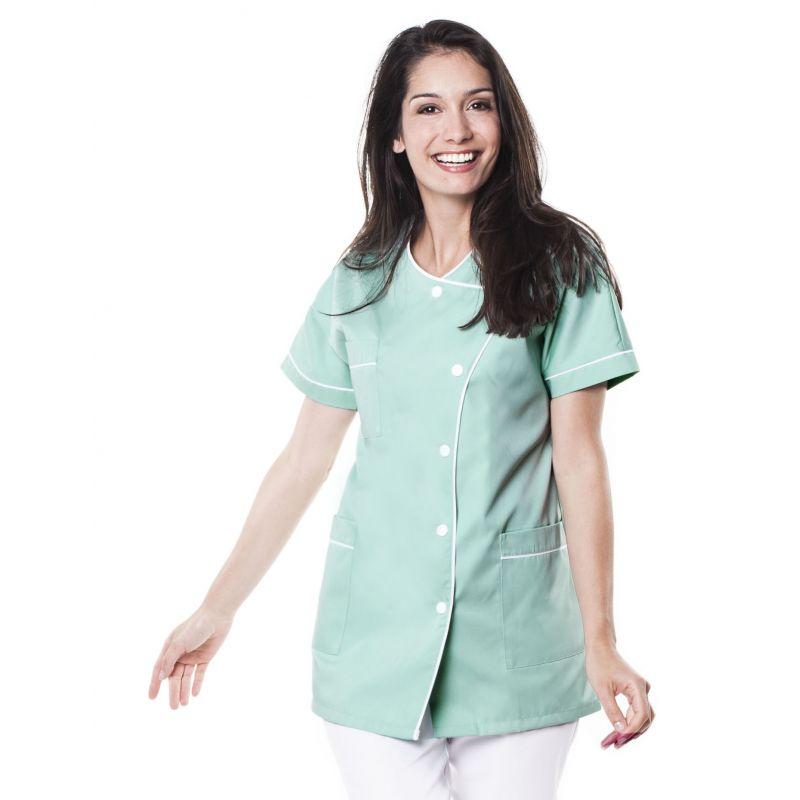 Tunique médicale femme taffa vert aqua/liseré blanc