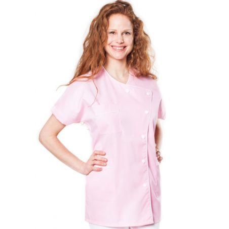 Tunique médicale femme taffa rose/liseré blanc