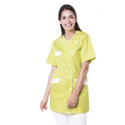 Tunique médicale femme tagia vert anis/liseré blanc