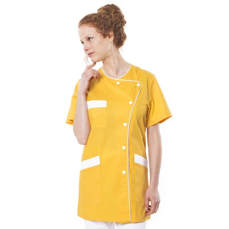 Tunique médicale femme tagia jaune/liseré blanc