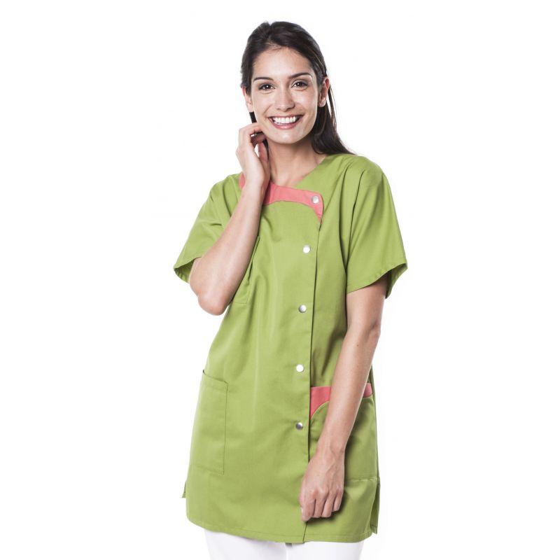 Tunique médicale femme tague vert olive/rose