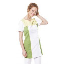 Tunique médicale femme tamil blanc/vert pollen