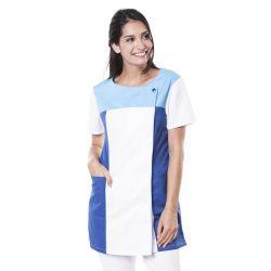 Tunique médicale femme tamil blanc/bleu