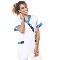 Tunique médicale femme timbi blanc/bleu