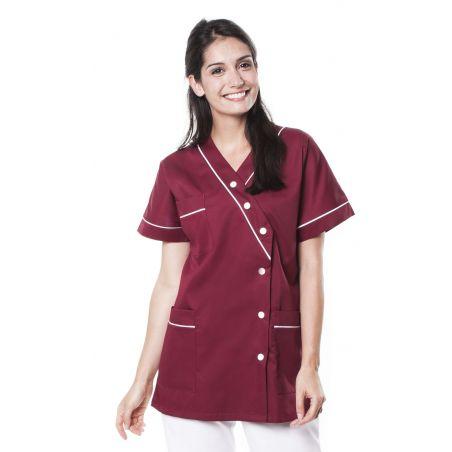 Tunique médicale femme timme bordeaux