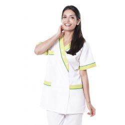Tunique médicale femme timme blanc/anis