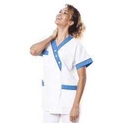Tunique médicale femme timme blanc/turquoise