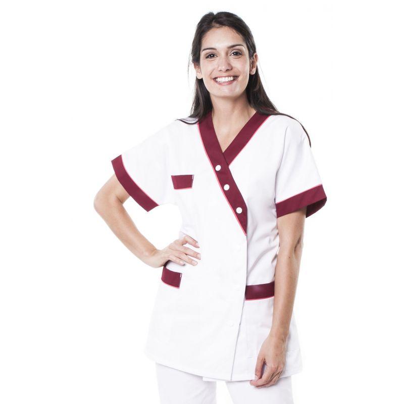 Tunique médicale femme timme blanc/bordeaux