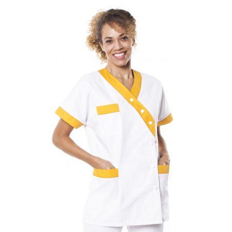 Tunique médicale femme timme blanc/jaune