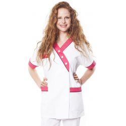 Tunique médicale femme timme blanc/rose