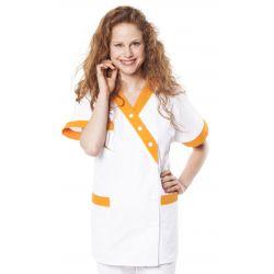 Tunique médicale femme timme blanc/melon