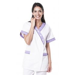 Tunique médicale femme timme blanc/lilas