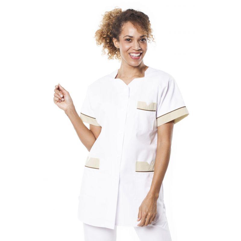 Tunique médicale femme tivry blanc/tan