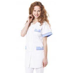 Tunique médicale femme tivry blanc/bleu