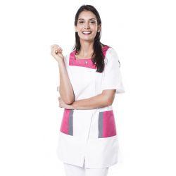 Tunique médicale femme twito blanc/fuchsia
