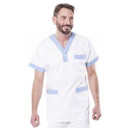 Tunique médicale mixte trimo blanc/ciel