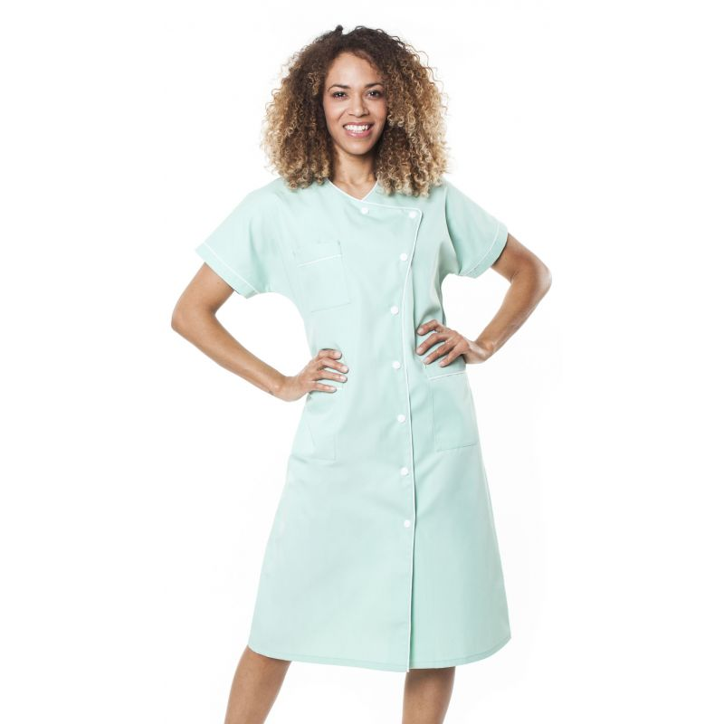 Blouse médicale femme baffa vert aqua/liseré blanc