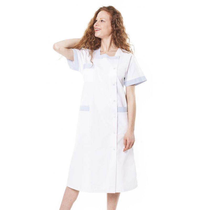 Blouse médicale femme blepi blanc/bleu