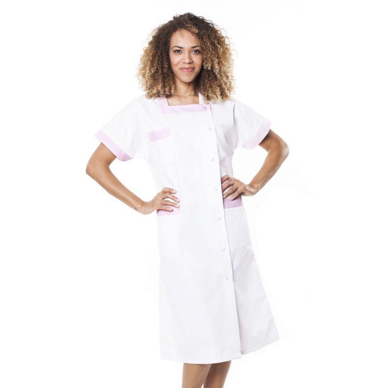 Blouse médicale femme blepi blanc/rose