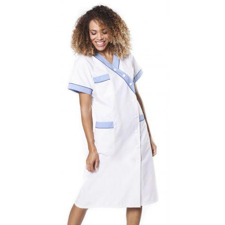 Blouse médicale femme brimi blanc/bleu ciel