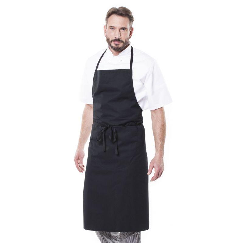 Tablier de cuisine noir avec bavette glavi