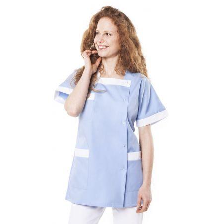 Tunique médicale femme tilly ciel/blanc