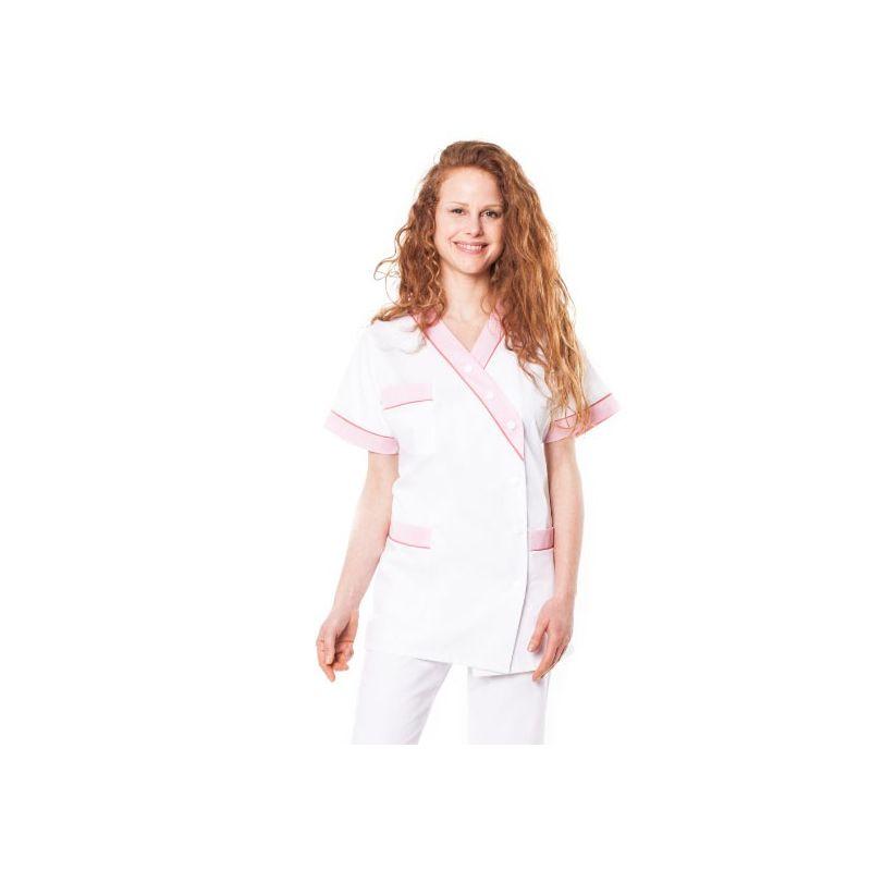 Tunique médicale femme timme blanc/rose pâle