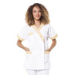 Tunique médicale femme timme blanc/jaune pâle