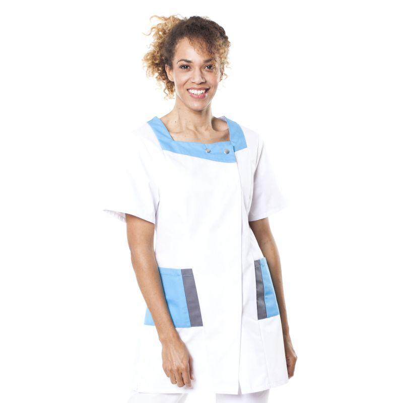 Tunique médicale femme twito blanc/bleu