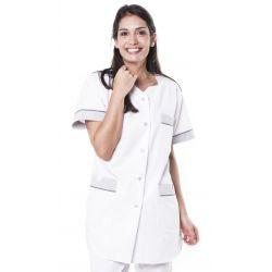 Tunique médicale femme tivry blanc/gris