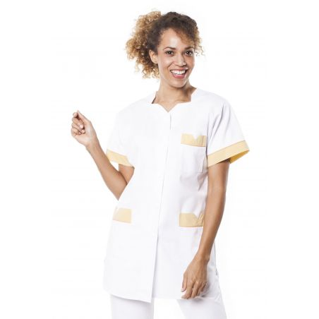 Tunique médicale femme tivry blanc/citron