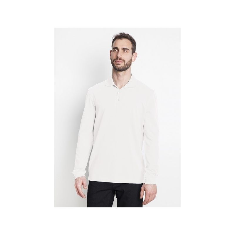 Polo homme manches longues 100% coton blanc