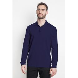 Polo homme manches longues 100% coton marine