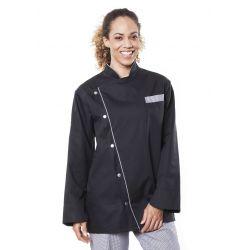 Veste de cuisine mixte trizi noir manches longues