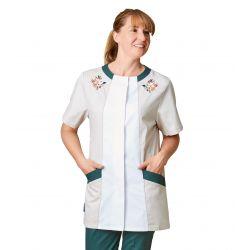 Tunique médicale femme maeli vert et tan