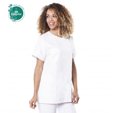 Tunique médicale Traxa blanc en tencel