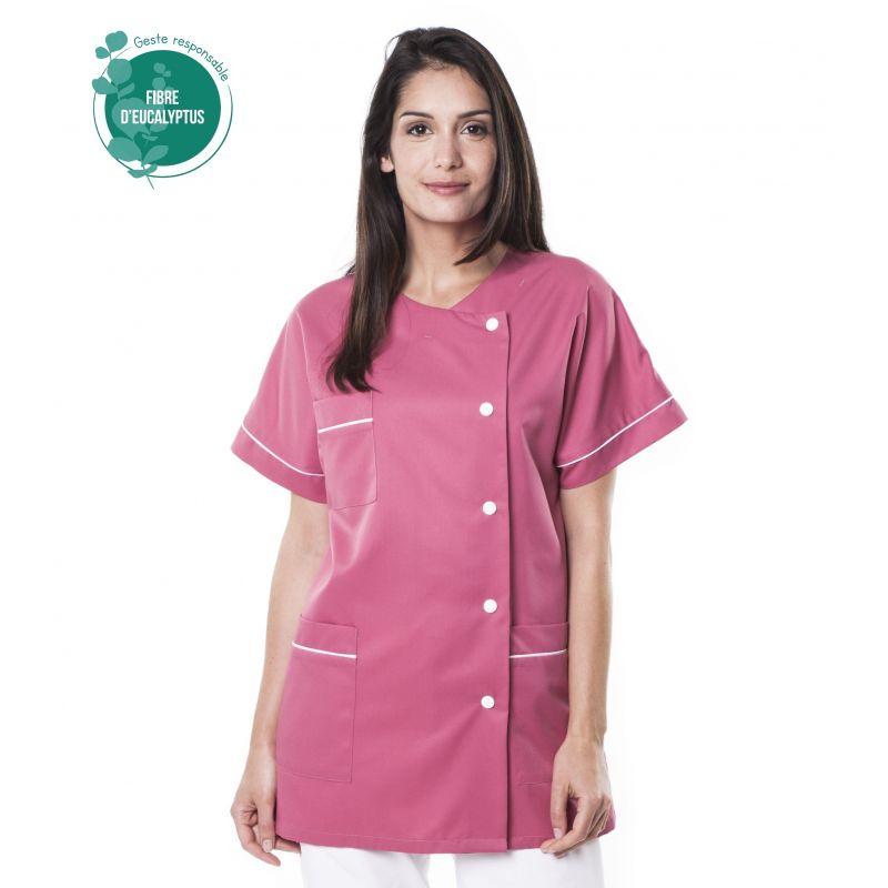 Tunique médicale Traxa rose en tencel
