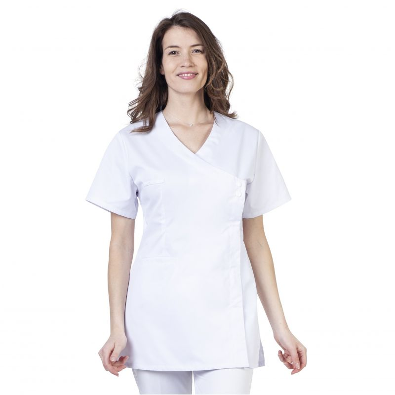 Tunique médicale stretch blanche