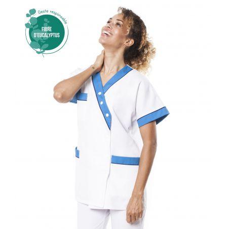 Tunique médicale femme tencel timme blanc/bleu