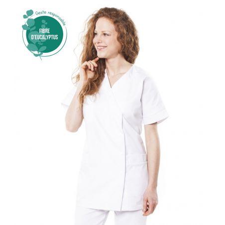 Tunique médicale femme tencel timme blanche