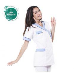 Tunique médicale femme tencel timme blanc/bleu ciel