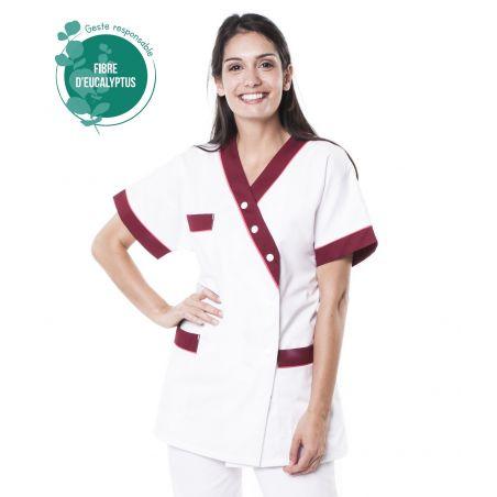 Tunique médicale femme tencel timme blanc/bordeaux