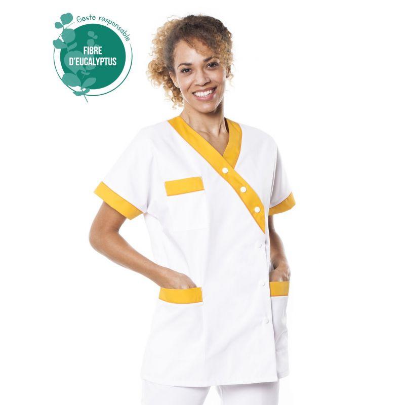 Tunique médicale femme tencel timme blanc/jaune