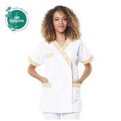 Tunique médicale femme tencel timme blanc/jaune citron
