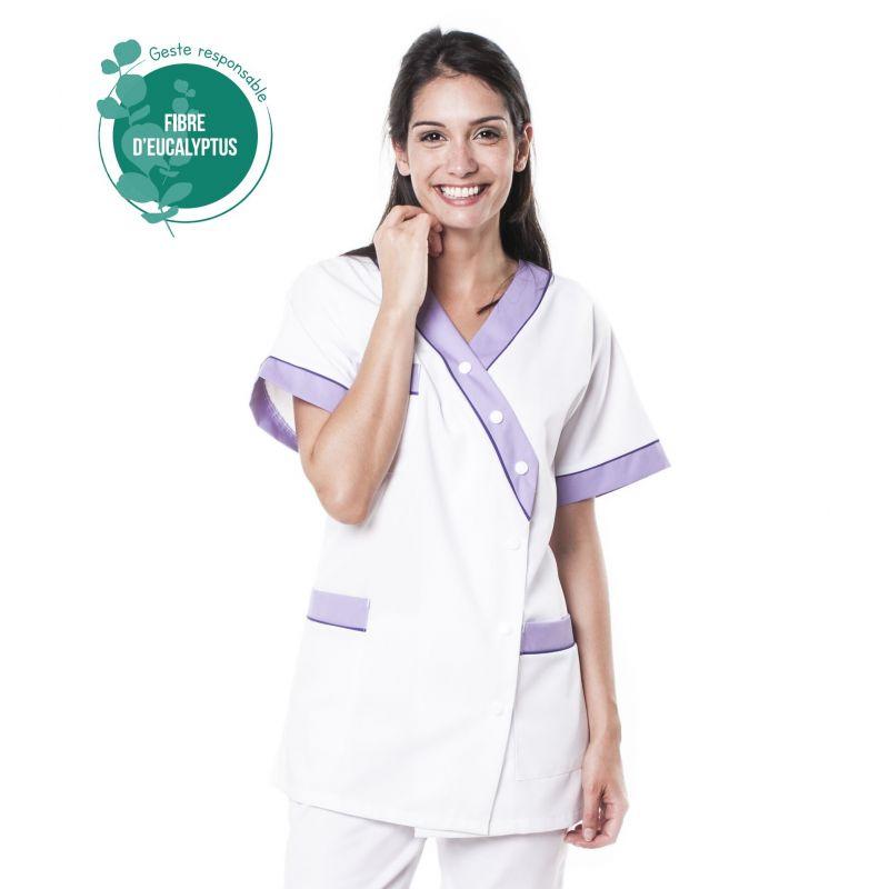 Tunique médicale femme tencel timme blanc/lilas