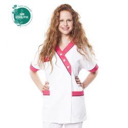 Tunique médicale femme tencel timme blanc/rose