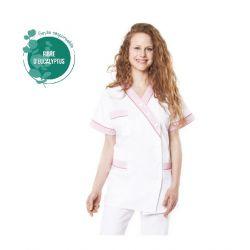 Tunique médicale femme tencel timme blanc/rose pâle
