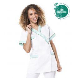Tunique médicale femme tencel timme blanc/vert
